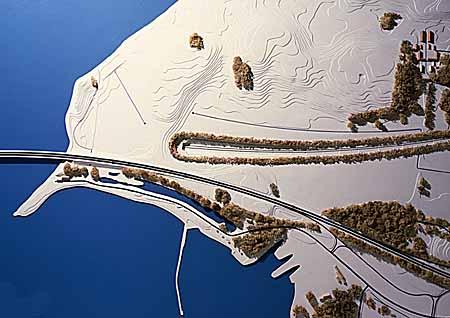 AS Storebæltsforbindelsen, landskabsmodel af Halsskov